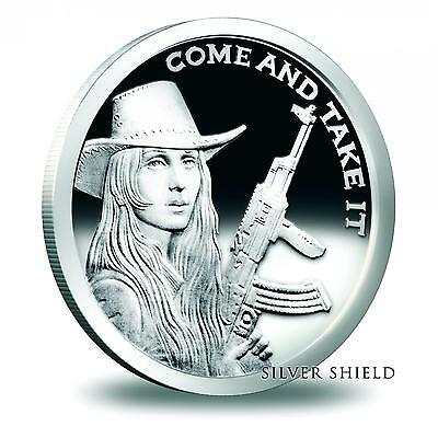 2014 Silver Shield Come And Take It Southern Freedom Girl 1 oz Silver PF Round