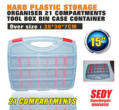 "15"" 21 Compartments Tool Box Hard Plastic Storage Organizer Bin Case Container"