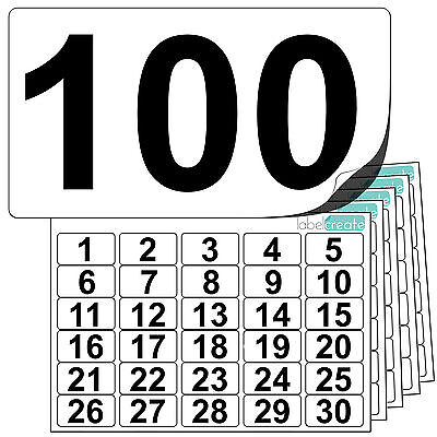 Premium Plastic Numbered Stickers 1 to 100. Durable Waterproof Number Labels
