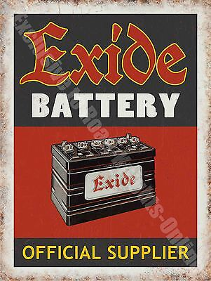 Exide Battery 136 Old Vintage Garage Old Car Parts Advert, Medium Metal Tin Sign