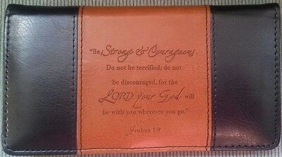 Mens Women's Christian STRONG COURAGEOUS Brown Black LUX LEATHER CHECKBOOK COVER