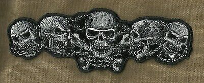 FIVE DEATH SKULL & CROSSBONES BARBED WIRE MC OUTLAW MOTORCYCLE BIKER PATCH SM