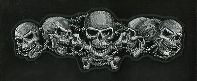 FIVE DEATH SKULL & CROSSBONES BARBED WIRE MC OUTLAW MOTORCYCLE BIKER PATCH MED