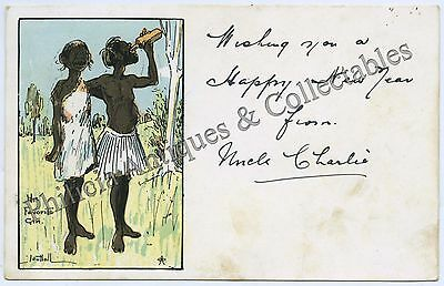 C.1905 PT POSTCARD SCARCE ARTIST SIGNED NUTTALL ABORIGINAL HIS FAVOURITE GIN c21