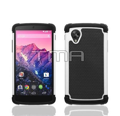 Fits LG Nexus 5 Case Hybrid Impact Durable Shockproof Rugged Armor Cover - White