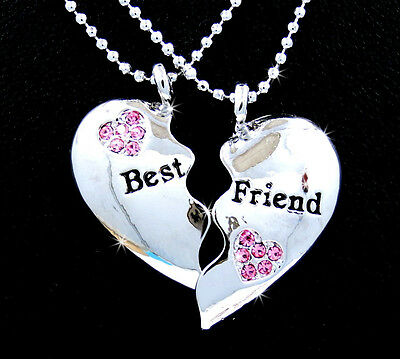 BFF Silver Tone Best Friend 4ever Heart Austrian Crystal Pendant Necklaces Pink