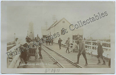 C1910 Rp Postcard Semaphore Jetty With Sheds And People Walker Photo C19