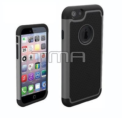 iPhone 6 6S Rugged Rubber Impact Hybrid Shock Proof Case Cover - Gunmetal Gray