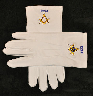 Masonic Gloves Embroidered with Lodge Number of Choice - M L & XL in Stock