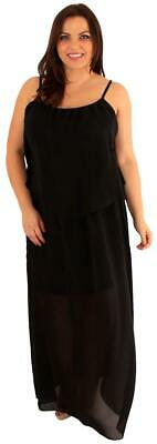 New Ladies Curve Cami Sole Chiffon Maxi Dress Layered Long Strappy Maxi 16-28