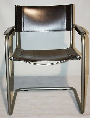 Vintage Italian Brown  Leather Side Chair  Model 1-05 G Made In Italy