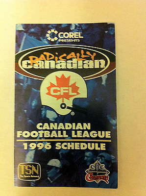 CFL 1996 POCKET SCHEDULE, GREY CUP, FOOTBALL, CANADIAN FOOTBALL LEAGUE, NR