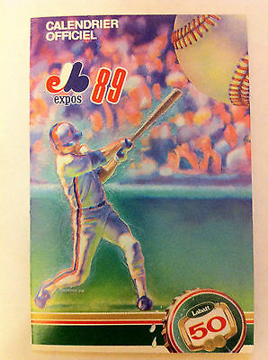 MONTREAL EXPOS 1989 POCKET SCHEDULE, CALENDRIER OFFICIEL, MLB, FRENCH VERSION,NR