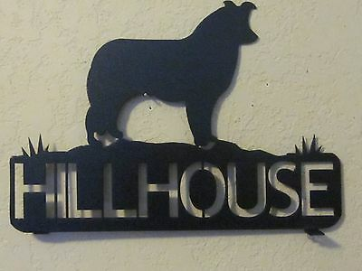 Border Collie  Mailbox Topper (Your  Name) Steel Black Powder Coat Finish