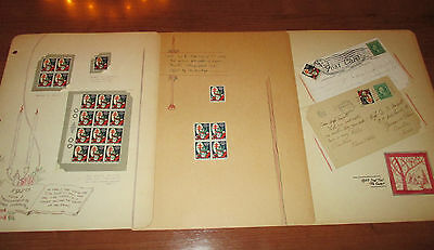 1920 CHRISTMAS SEAL-RED CROSS-2 TIED POSTCARDS-SEAL BLOCKs-TB TUBERCULOSIS