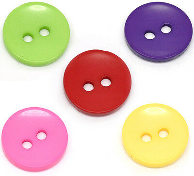 100 Gift Mixed Round 2 Holes Resin Sewing Buttons 15mm