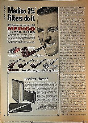 """1969 Medico """"2 1/4"""" filters do it"""" winking man orig print ad (with wallet ad)."""