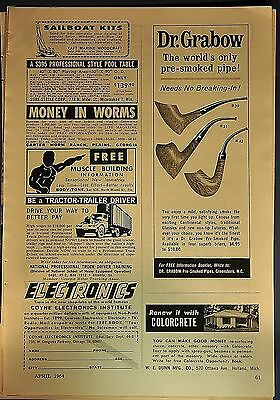 """1964 Dr. Grabow """"The world's only pre-smoked pipe"""" original print ad"""