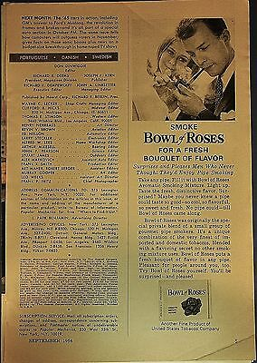 """1964 Bowl of Roses pipe tobacco """"For a fresh bouquet of flavor"""" orig. print ad"""