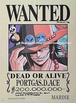 "A2 25"" x 16"" Laminated One Piece Portgas.D.Ace wanted Anime Manga Poster(OPLP14)"