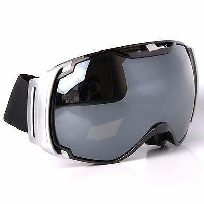 5ce6b5726175 ADULT SKI GOGGLES Anti-Fog CA And PC Gray Double Lens Black   Silver ...