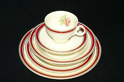 Vtg 40's China 7pc Place Setting Red Band Gold Pink Rose Valentines Day Dinner