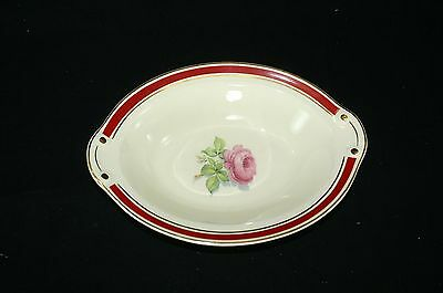 "Vtg 40's China 9 1/2 "" Oval Serving Bowl Red Band Gold Pink Rose Made in USA"