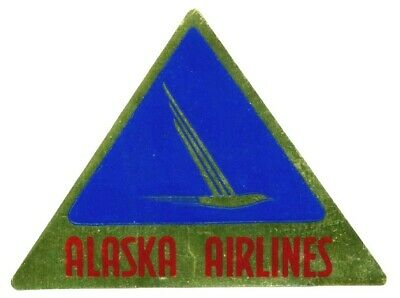 ALASKA AIRLINES - Great Old Metallic Luggage Label, 1955