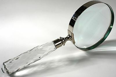 Magnifying Glass/Large/Decorative crystal etched handle-Optical Glass-NEW-ma