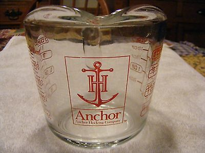 ANCHOR HOCKING GLASS CO. TWO CUP MEASURING CUP HEAVY GLASS USA MADE