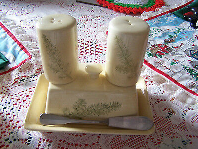 Butter Cheese Dish w matching Salt Pepper Yellow Gold Ceramic Stoneware Pottery