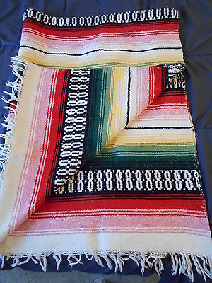 Southwest Style Cotton Blanket Robe Rug Red Green 57 x 79