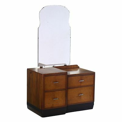 Original Art Deco Figured Walnut Four Drawer Pedestal Vanity Dressing Table x