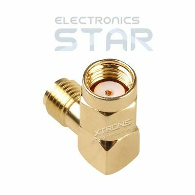 RP-SMA Plug to SMA Jack 90 Degree Right Angle Connector Adapter for Antenna