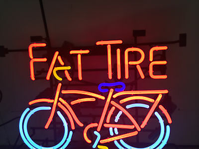 FAT TIRE NEON BEER SIGN  BICYCLE BEER LIGHT     NO SHIPPING!!!