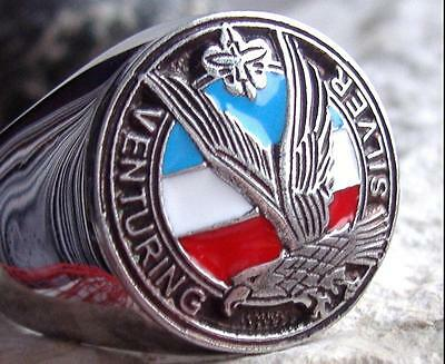 US SIZE 10 - EAGLE SCOUT RING BOY SCOUTS PIN PATCH STEEL VENTURING SILVER D48