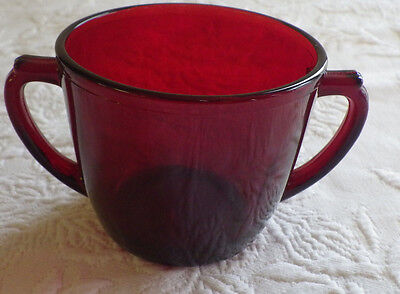 """Cranberry Colored Tea Cup Sugar Bowl Vintage 3.5"""" Diameter Collectible 3"""" Tall"""