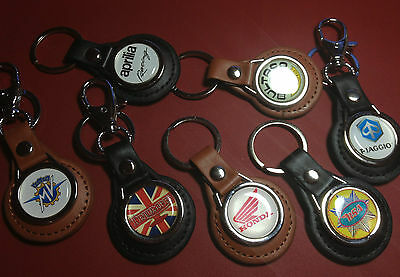 Classic & Modern Motorcycles: Real Leather Key Rings In Black & Tan: 37 Designs