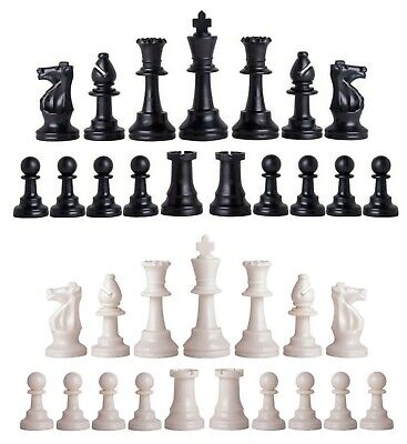 Staunton Triple Weighted Chess Pieces – Full Set 34 Black & White - 4 Queens