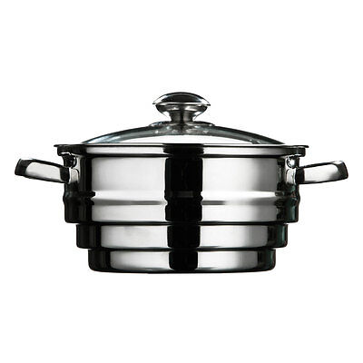 Stainless Steel 21cm Multi Food Vegetable Steamer Glass Lid Vent Pan Pot Cook