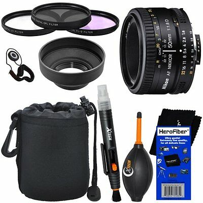 Nikon 50mm f/1.8D AF Nikkor Lens for Nikon Digital SLR Cameras + 10p Acc Kit