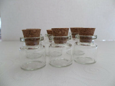 Clear Mini Glass 1 inch Tall (25mm) Vintage Style Apothecary Bottles with Cork