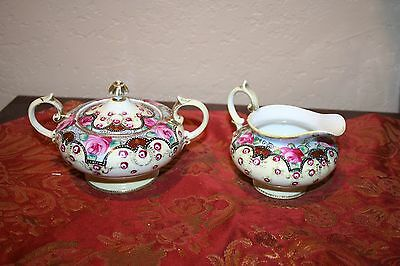 Antique Nippon Jeweled and Beaded Hand Painted Ornate Creamer and Sugar Set
