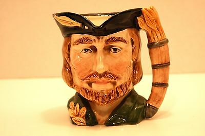 "Vintage Porcelain Character Toby Jug Mug Robin Hood 5 1/2"" with Blue Crown Stamp"