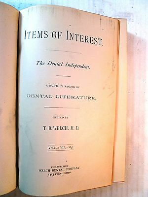 1885 Dental Dentistry Book Bound Journal ITEMS OF INTEREST Vol VII