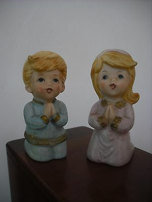 VINTAGE HOMCO, ''LITTLE BOY & GIRL PRAYING'' / # 5211 PORCELAIN FIGURINES