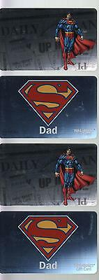 SUPERMAN HOLOGRAPHIC Wal-Mart GIFT CARD Set of 4 Unused/Unloaded