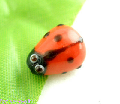 20Pcs Ladybug Lampwork Glass Spacer Beads Red 15x10mm