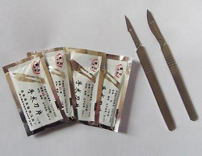 40pcs Carbon Steel Surgical Scalpel Blade w/ 2pc Handle Craft Carving Dissection