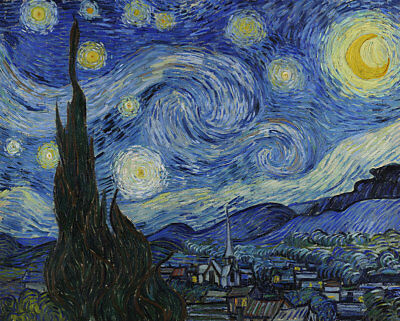 "The Starry Night by Van Gogh, Hand Painted Oil Painting Reproduction, 26"" x 22"""